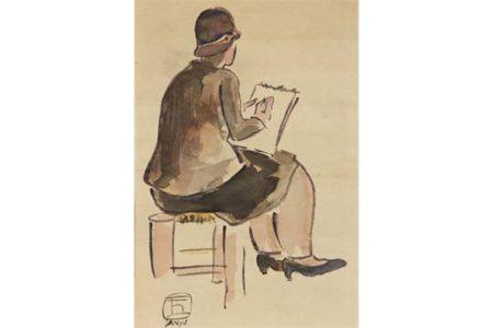 Femme au carnet de dessin Sanyu