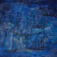 Peinture bateau fond bleu zao wou-ki