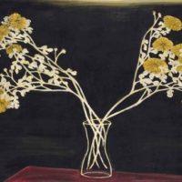 Image de Chrysanthèmes dans un vase en verre, 1950