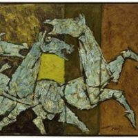 sprinkling horses maqbool fida husain