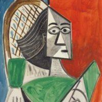 femme assise sur fond rouge bleu pablo picasso