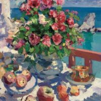 tableau roses and apples constantin korovin
