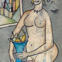 peinture nude with fruit francis newton souza